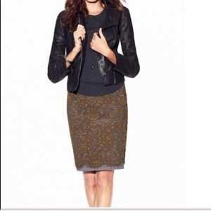 Loft green lace and ponte knit pencil skirt